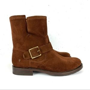 Natalie Side Buckle Suede Engineer Short Boots Brown Size 7.5